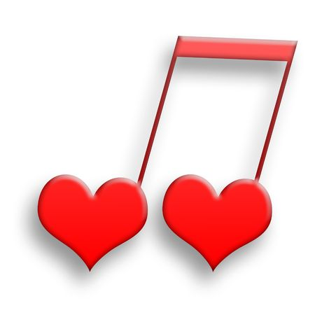 Love Is Music, Two red hearts in harmony as musical symbol Stock Photo - 6367655