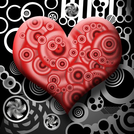 Perfect Heart over Abstract Metal Industrial Background
