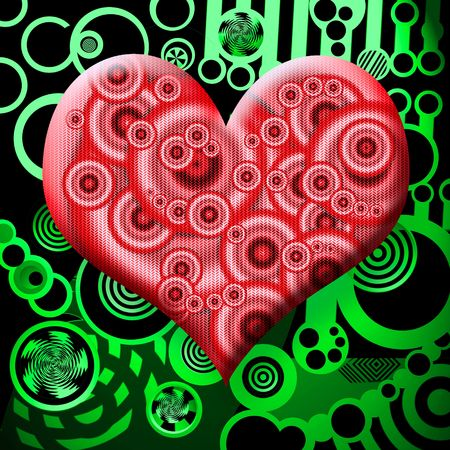 ultra modern: Surreal Red Matte Glass Heart Symbol over Abstract Toxic Green Industrial Background Stock Photo