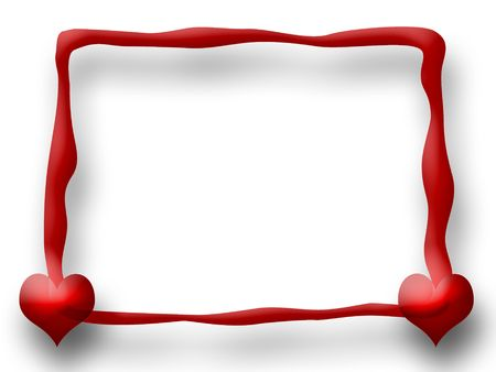 double glass: Love Frame with two Hearts over white background