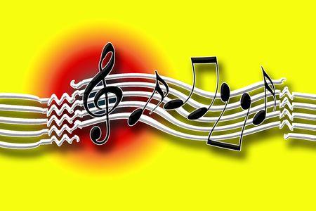 Rhythm Funky, notas musicales bailando sobre brillante amarillo fondo  Foto de archivo