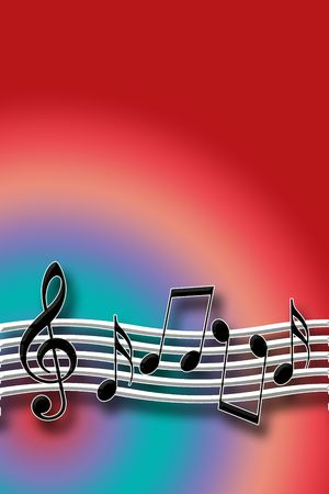 Warm Music Theme with Musical Symbols over Multicolored Background Stock Photo - 6442410