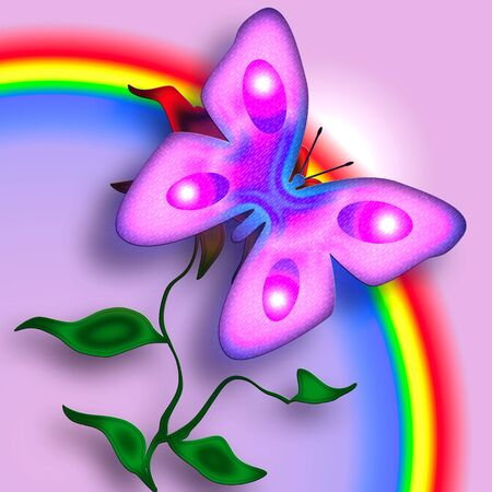 Pink Tender Butterfly on the Flower enjoing the Rainbow over Pink Background photo