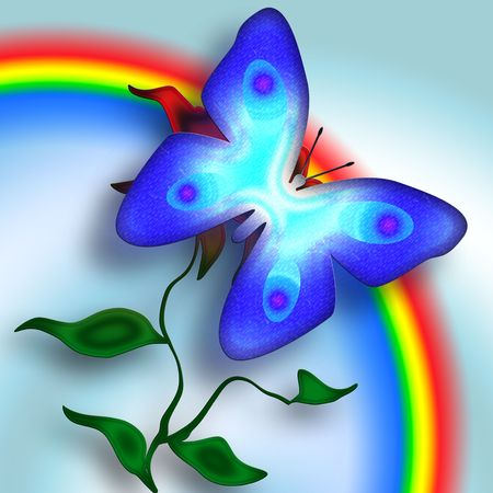 Blue butterfly on the flower and  bright rainbow decoratove illustration Stock Illustration - 6442412