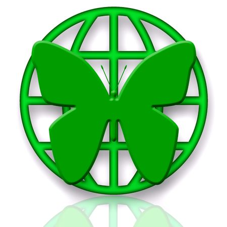 global health: Butterfly and Globe Green Symbol of Protection over White Background