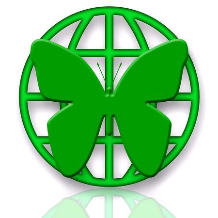 saludable logo: Mariposa y Globo Verde s�mbolo de protecci�n sobre fondo blanco