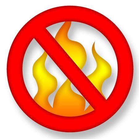 Anti Fire Symbol over White Background Illustration illustration