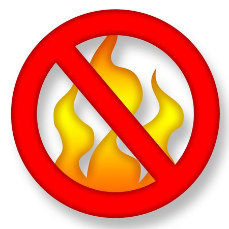 warning against a white background: Anti Fire Symbol over White Background Illustration Stock Photo