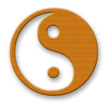 dualism: Wooden Jin Jang Symbol over White Background