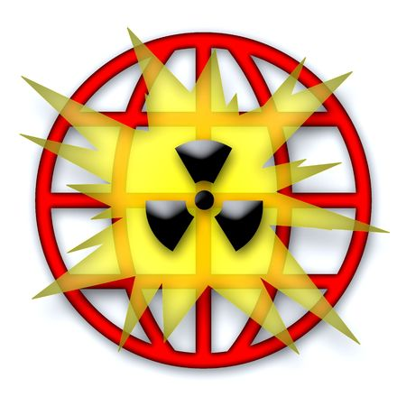 Nuclear Explosion Symbol Illustration over white background Stock Illustration - 6466601