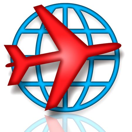 Emblem with blue earth globe and red airplane over white background