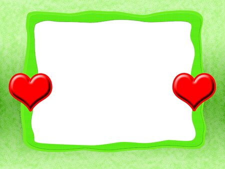 Green tender romantic love frame with bright red hearts and blank white background photo
