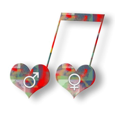 Two hearts with white venus and mars symbols in music harmony bright colorful musical note over white background Stock Photo - 6466606