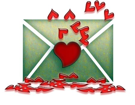 dozen: Love Letter with Dozen of Red Hearts over White Background Stock Photo