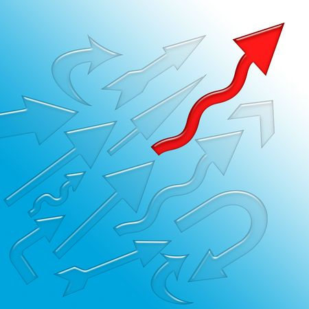 purposefulness: Lucky Destiny - Red arrow first to reach the high goal than another arrows, conceptual illustration over blue background Stock Photo