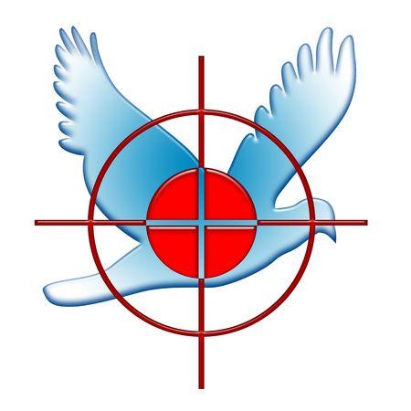 paloma de la paz: Guerra contra el s�mbolo de la paz como destino de red en la paloma azul sobre fondo blanco  Foto de archivo