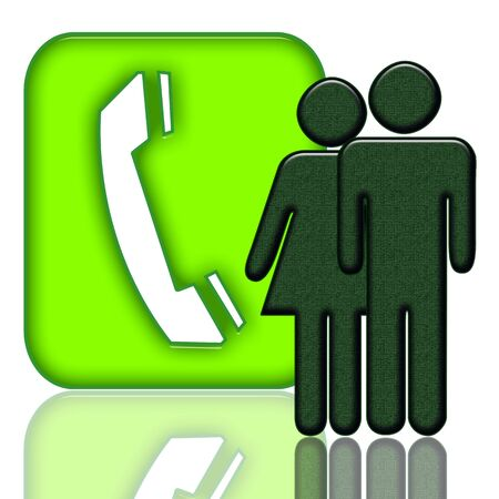 Connecting People. Elegant absract green telecommunication icon with consumers couple and telephone handset symbols over white background with reflection