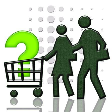 consommateurs: Panier de consommateur, couple de consommateurs et signe de question