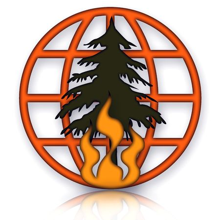 flamed: Forest Fires Disaster Emblem with Burning Tree and Globe over White Background Stock Photo