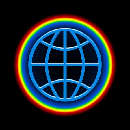 Global Rainbow, Symbolic illustration of Blue Globe with Bright Colorful Atmosphere over Black Space Background illustration