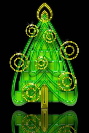 Bright Abstract Geometric Green Christmas Tree with Yellow Baubles and Sparks over Black Night Background photo