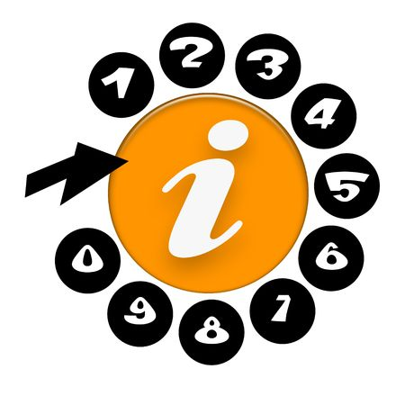 Information call center,  telephone with white Info symbol on orange disc, numbers and black arrow over white background