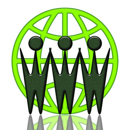 World Wide Cooperation, Internet cooperation green icon with WWW letters as business people from different locations, conceptual illustration over white background illustration