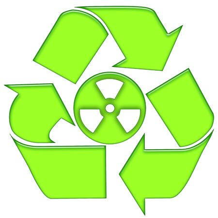 nuclear waste: Recycling nuclear waste green symbolic icon isolated over white background Stock Photo