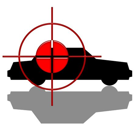 attempted: Attempted Act, Red target over black car silhouette with shadow isolated over white background