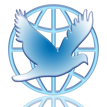 paloma de la paz: Paloma de la paz y el globo azul icono aislado sobre fondo blanco  Foto de archivo