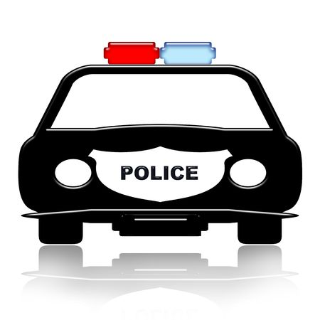 police car: Police car icon with reflection isolated over white background