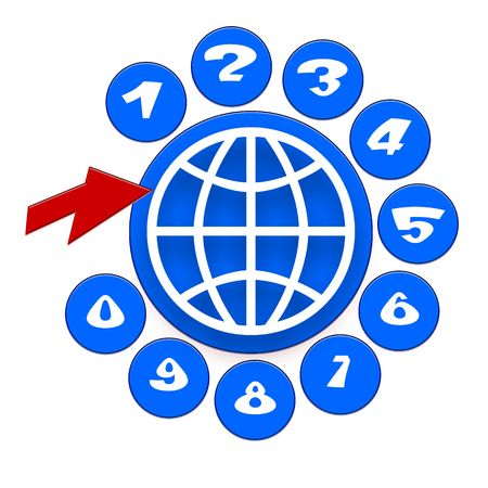 Global Communication Icon with Telephone Disc with Nimbers, Globe Symbol and Red Arrow over White Background Stock Photo - 6623473
