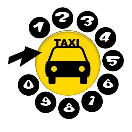 taxista: Elegante emblema para teléfono de soporte de servicio de taxi con símbolo de coche en disco amarillo, números y flecha aislados sobre fondo blanco Foto de archivo