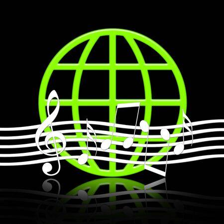 simbolos musicales: M�sica Mundial, emblema de la m�sica elegante con s�mbolos musicales y Globo Verde con la reflexi�n sobre fondo negro  Foto de archivo