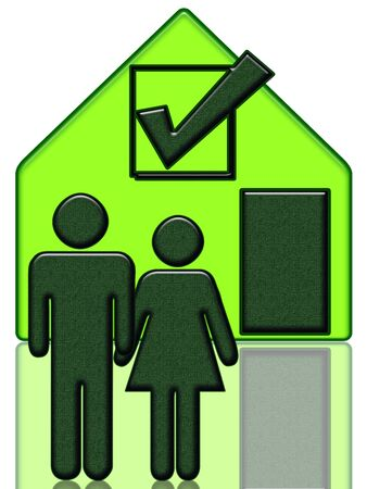 New Home, Сouple has chosen a new home, green house with symbol of acceptance in the window. Woman and man hold hands. Illustration isolated with reflection over white background illustration