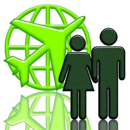 Aircraft, Couple near the green airplane with globe emblem over white background abstract aircraft service illustration illustration