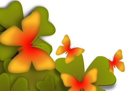 ecard: Decorative butterflies floral corner illustration over white background