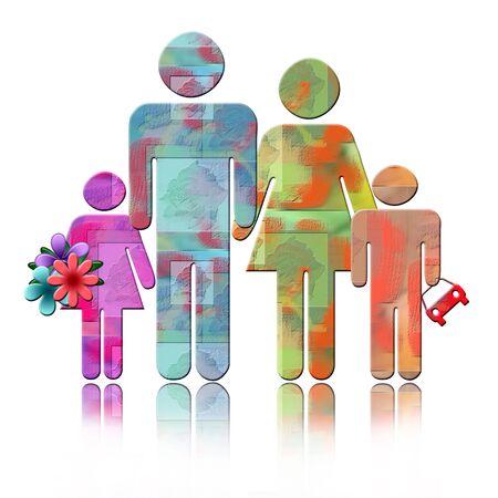 universal love: Familia abstracta, colorida ilustraci�n de padres con dos ni�os aislados sobre fondo blanco con la reflexi�n  Foto de archivo