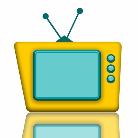 Teddy TV, Funny yellow TV with blank screen illustration with reflection isolated over white background illustration