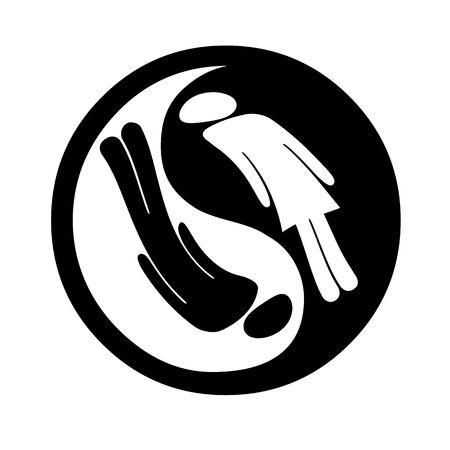 simbolo hombre mujer: Yin Yang s�mbolo con el hombre y la mujer dentro de aislados sobre fondo blanco  Foto de archivo