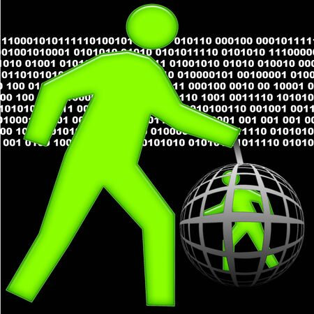 shadowing: Big human total control little human caught inside global net, illustration over black background