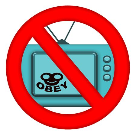 to obey: Resist hypnosis and dictates red sign with TV and Obey message inside  inside, isolated over white background
