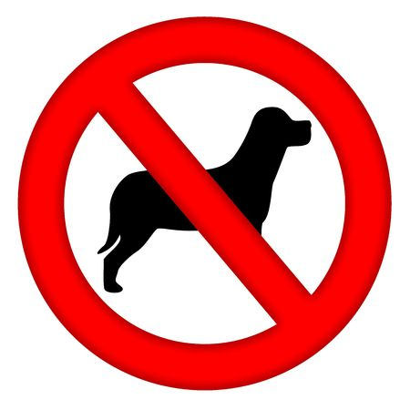 safety circle: No dogs area sign with dog silhouette inside isolated over white background Stock Photo
