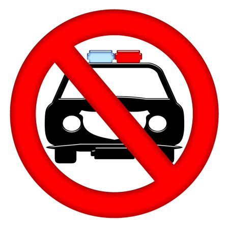 gangsta: No police cars area sign with  isolated over white background