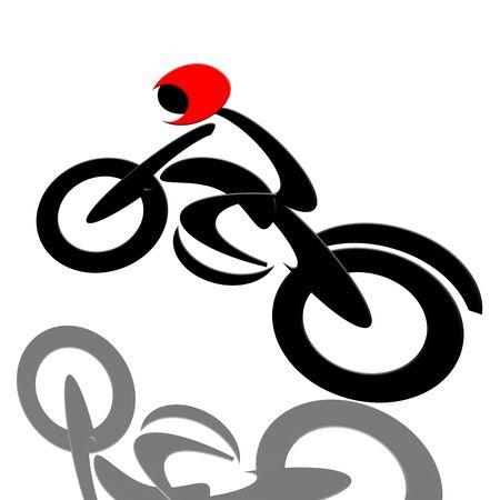 sportsman: Motorista extrema, abstract motociclista de velocidad extrema aislado sobre fondo blanco