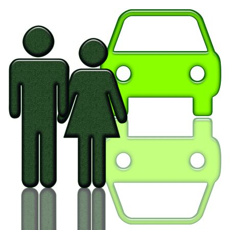 Couple looking for new car, elegant illustration isolated over white background illustration
