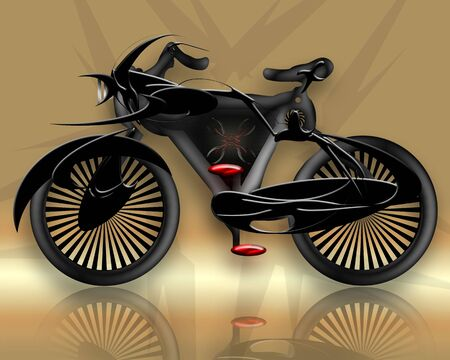 powerful creativity:  Beetle Styled Bicycle, Beetle styled conceptual design black bicycle over grunge background Stock Photo