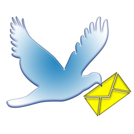 Blue dove postal flight with yellow mail envelope in beak isolated over white background photo