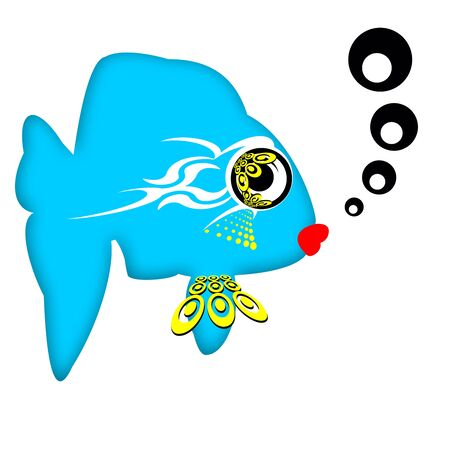fascinação: Attractive Fish, Pretty fashionable romantic blue fish with big eyes and red lips isolated over white background Banco de Imagens