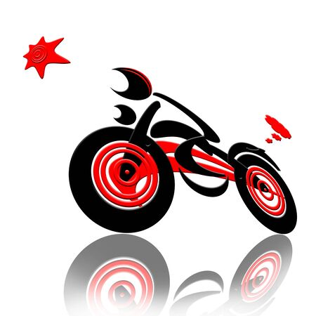extreme close up: Racing  with The Star, Abstract extreme sports speed biker racing with the star isolated over white background
